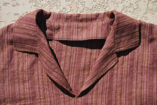 I top-stitched around the collar by hand.